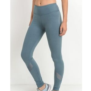 Pants - LIGHT TEAL MESH PANELS FULL LEGGINGS